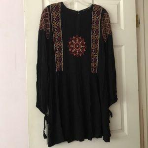 Zara Black Embroidered Drop Waist Dress